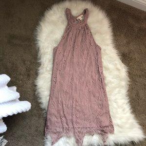 miami Dresses - Miami Dusty Lilac Lace Halter Neck Dress